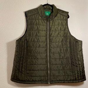 DIP Puffer Vest 3X Women's Full Zip olive green